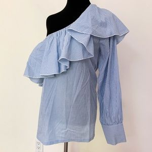 Ann Taylor LOFT Blue White Striped Ruffle Blouse